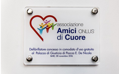 Consegna defibrillatore al Tribunale di Bari – Video